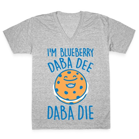 I'm Blueberry Da Ba Dee Parody White Print V-Neck Tee Shirt