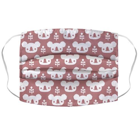 Koala and Eucalyptus Boho Pattern Pink Accordion Face Mask