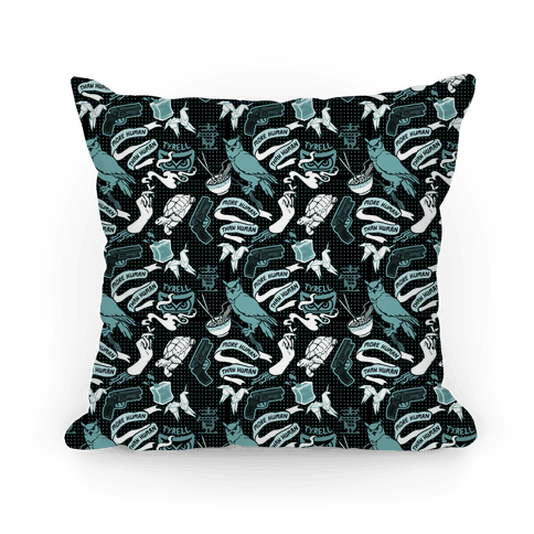 Do Androids Dream Sci Fi Pattern (grey) Pillow