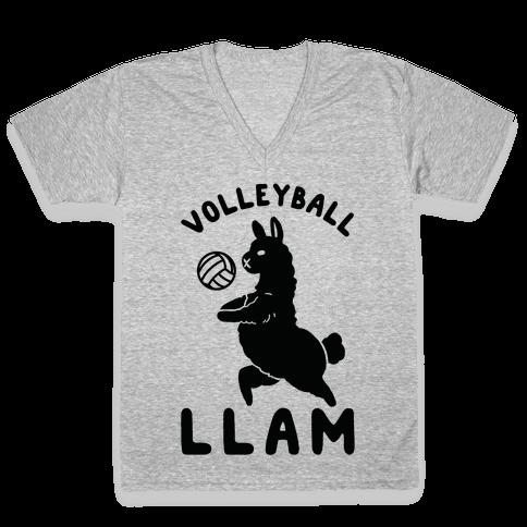 Volleyball Llam V-Neck Tee Shirt
