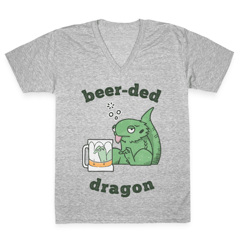 Beer-ded Dragon V-Neck Tee Shirt