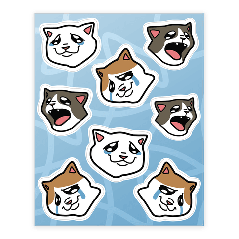 Crying Cats Sticker and Decal Sheet