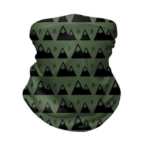 Mountains Boho Pattern Chive Green Neck Gaiter