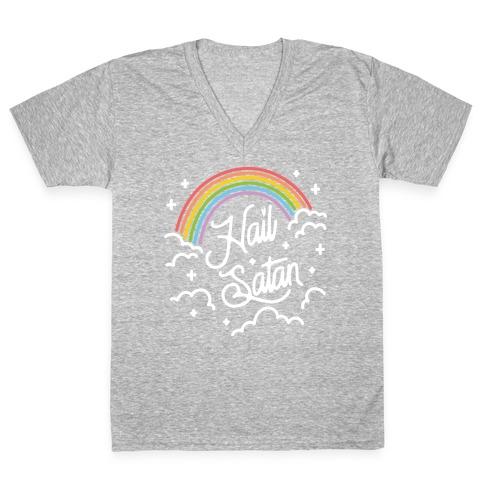 Hail Satan Rainbow V-Neck Tee Shirt