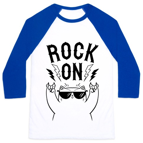 Rock On Cat Baseball Tee
