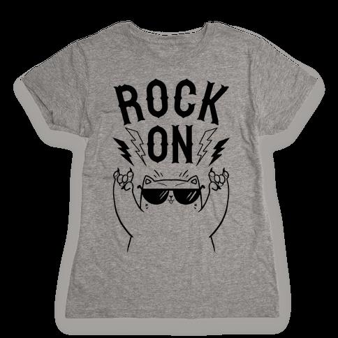 Rock On Cat Womens T-Shirt
