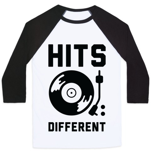 Hits Different Vinyl Record Baseball Tee