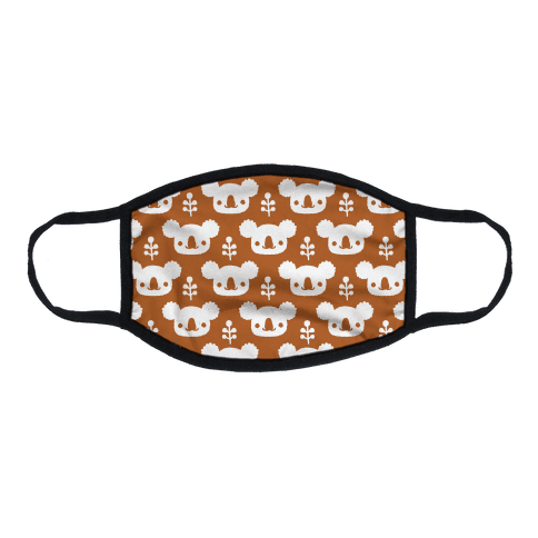 Koala and Eucalyptus Boho Pattern Rust Orange Flat Face Mask