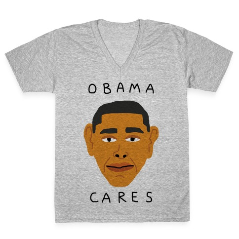 Obama Cares V-Neck Tee Shirt
