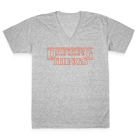 Drinking Things Parody White Print V-Neck Tee Shirt