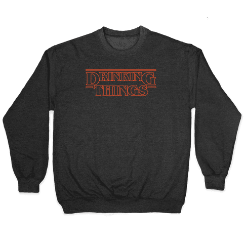 Drinking Things Parody White Print Pullover