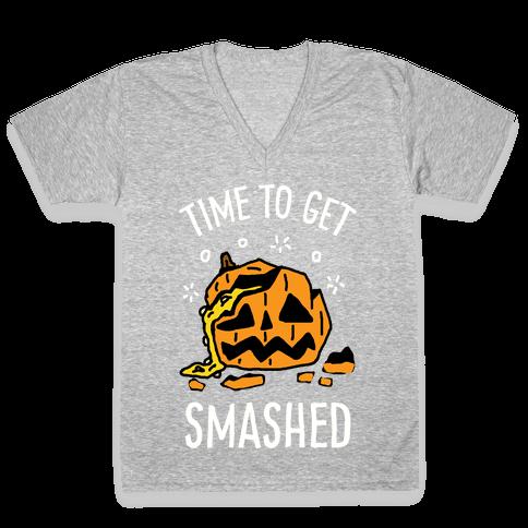 Time To Get Smashed Pumpkin V-Neck Tee Shirt