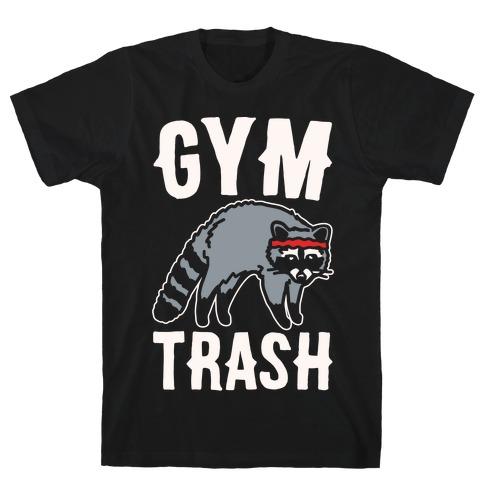 Gym Trash Raccoon White Print T-Shirt