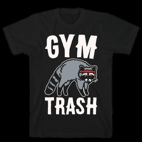 Gym Trash Raccoon White Print Mens T-Shirt