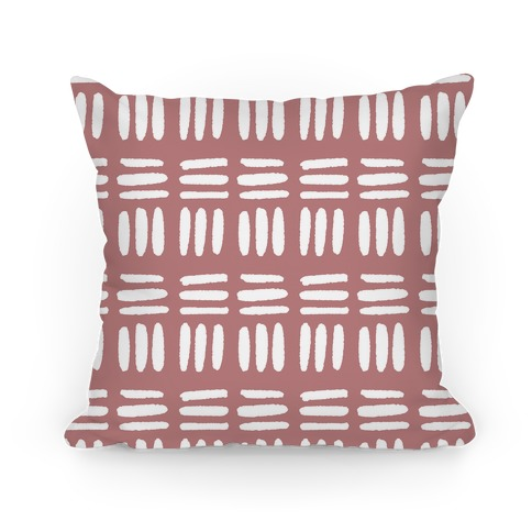 Dashed Lines Dusty Rose Boho Pattern Pillow
