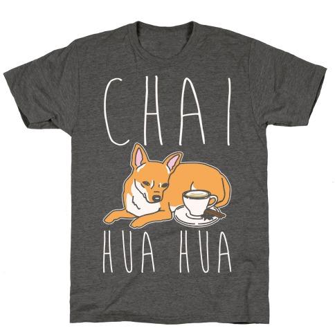 Chai Hua Hua Chihuahua Parody White Print T-Shirt