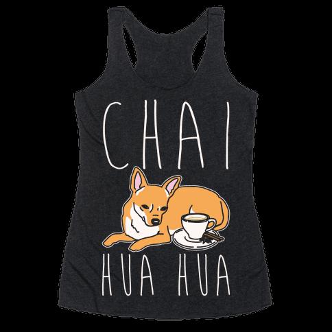 Chai Hua Hua Chihuahua Parody White Print Racerback Tank Top