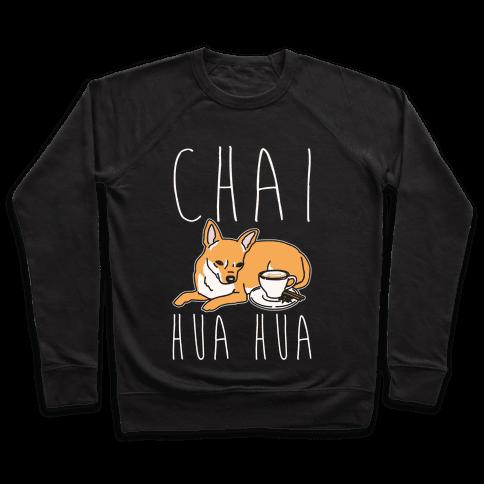 Chai Hua Hua Chihuahua Parody White Print Pullover