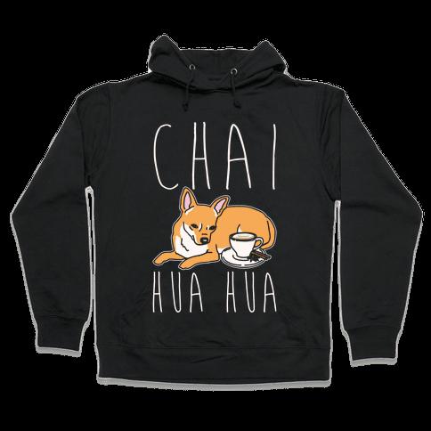 Chai Hua Hua Chihuahua Parody White Print Hooded Sweatshirt