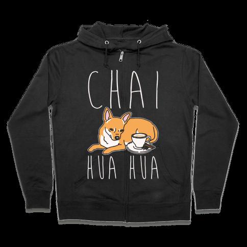 Chai Hua Hua Chihuahua Parody White Print Zip Hoodie