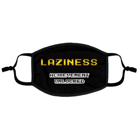 Laziness Achievement Unlocked Flat Face Mask