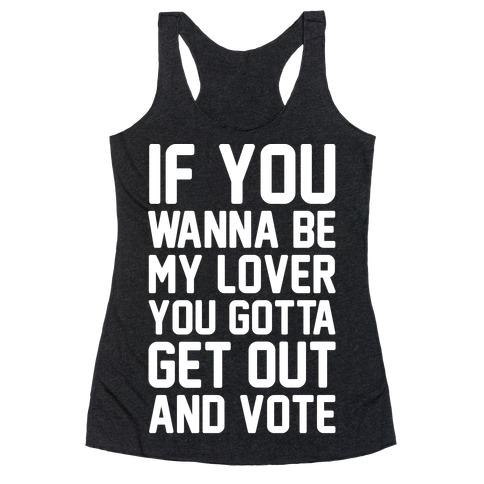 Wannabe Vote Parody White Print Racerback Tank Top