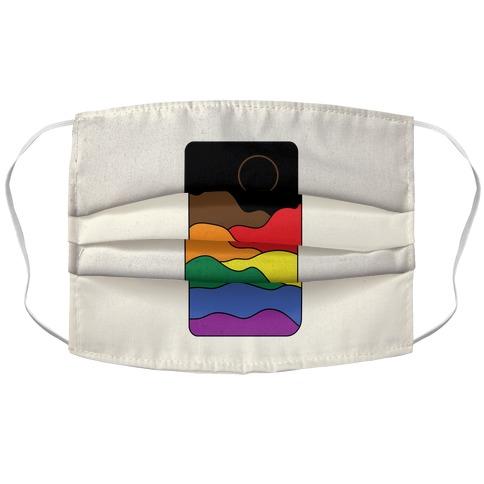 Groovy Pride Flag Landscapes: Pride Flag Accordion Face Mask
