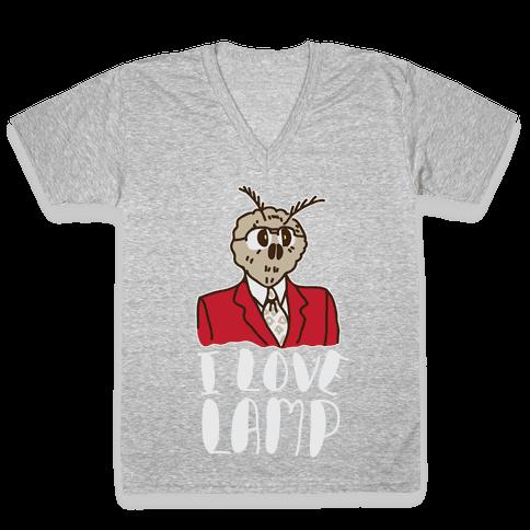 Moth Loves Lamp  V-Neck Tee Shirt