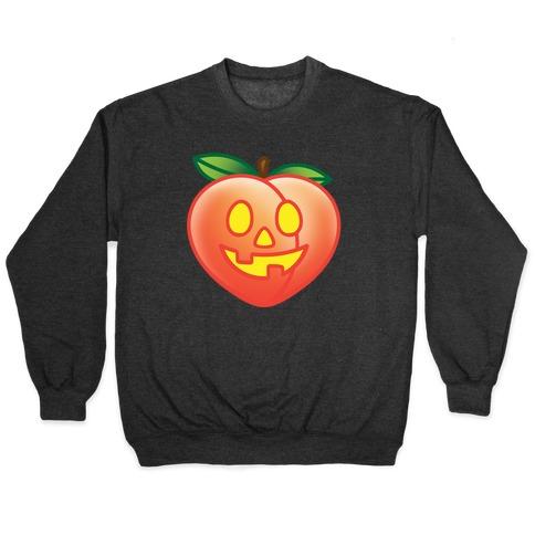 Peach Jack-O-Lantern White Print Pullover