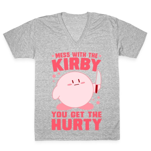 Mess With The Kirby, You Get The Hurty V-Neck Tee Shirt