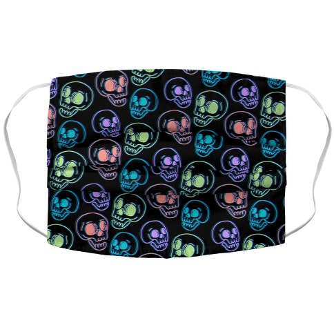 Pastel Skulls Glitch Accordion Face Mask