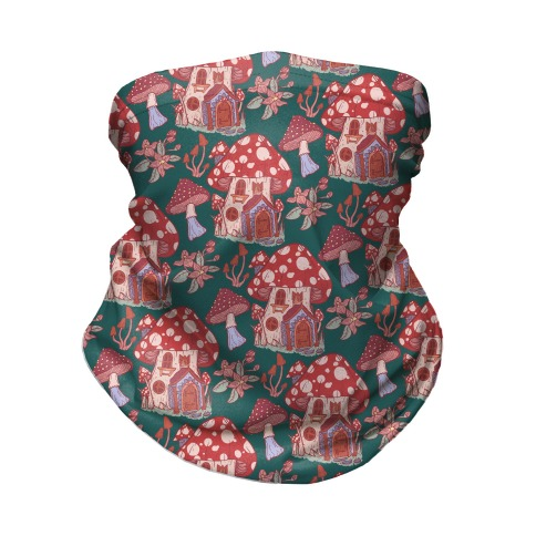 Fairy Mushroom House Pattern Neck Gaiter