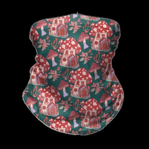 Fairy Mushroom House Pattern Neck Gaiter