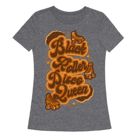 Black Roller Disco Queen Brown Womens T-Shirt