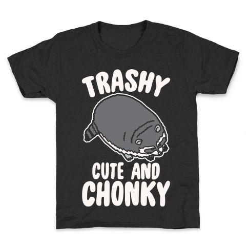 Trashy Cute And Chonky Raccoon White Print Kids T-Shirt