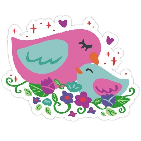 Mama Bird Pink Die Cut Sticker