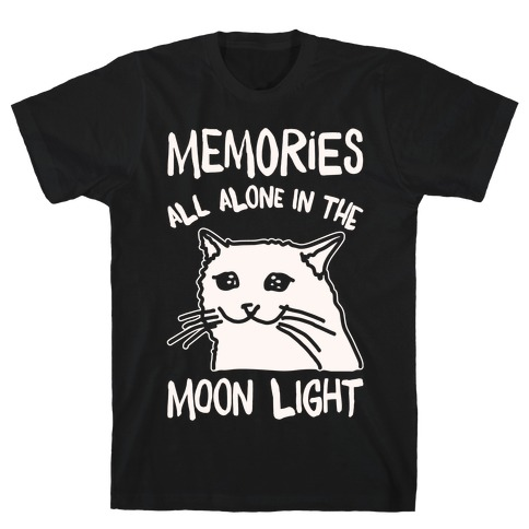 Memories All Alone In The Moonlight Parody White Print T-Shirt
