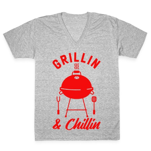 Grillin & Chillin V-Neck Tee Shirt