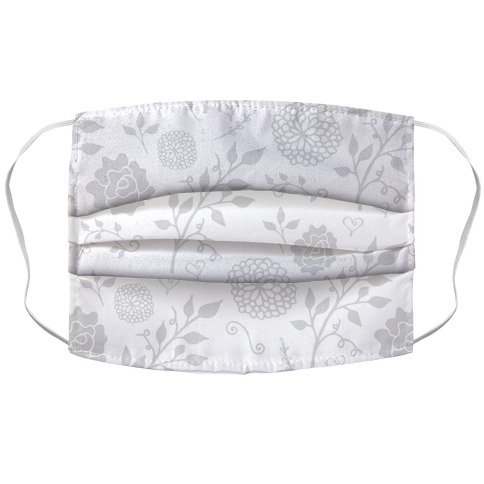 White Subtle Floral Pattern Face Mask