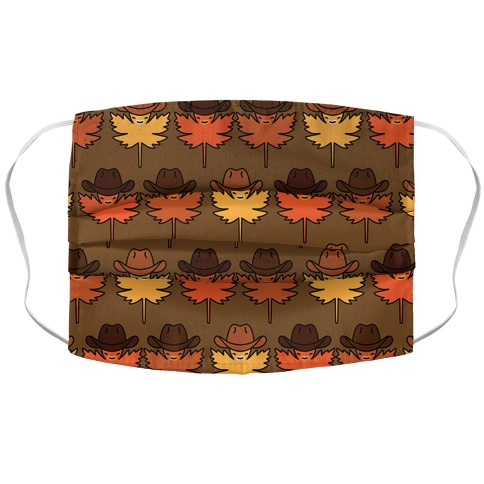 YeeHaw Fall Leaves Pattern Accordion Face Mask