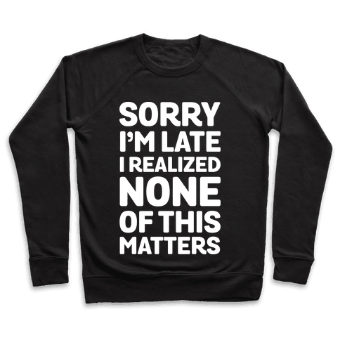 Sorry I'm Late I Realized None Of This Matters Pullover