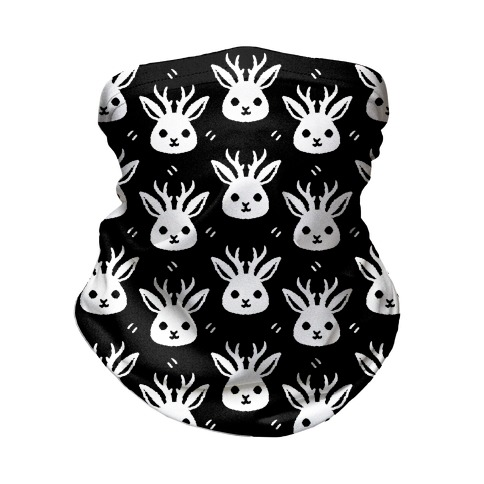 Cute Jackalope Black and White Pattern Neck Gaiter