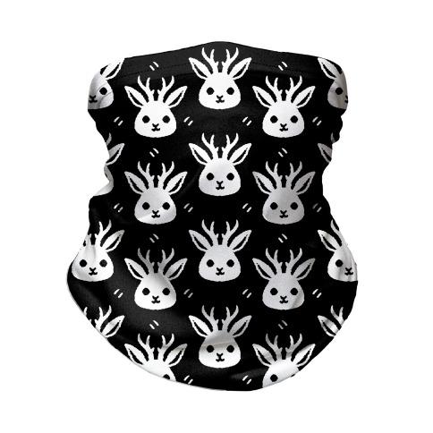 Cute Jackalope Black and White Pattern Neck Gaiter