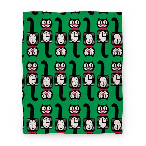 Retro Christmas Cat Clock Pattern Blanket