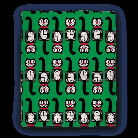 Retro Christmas Cat Clock Pattern Blanket