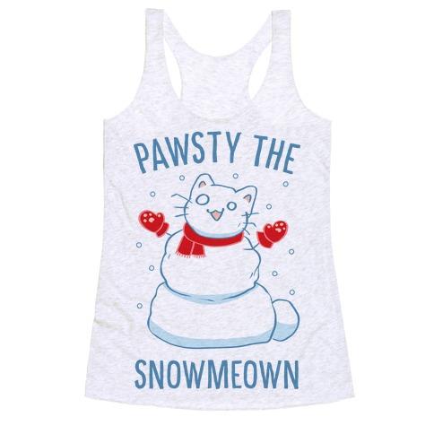 Pawsty The Snowmeown Racerback Tank Top