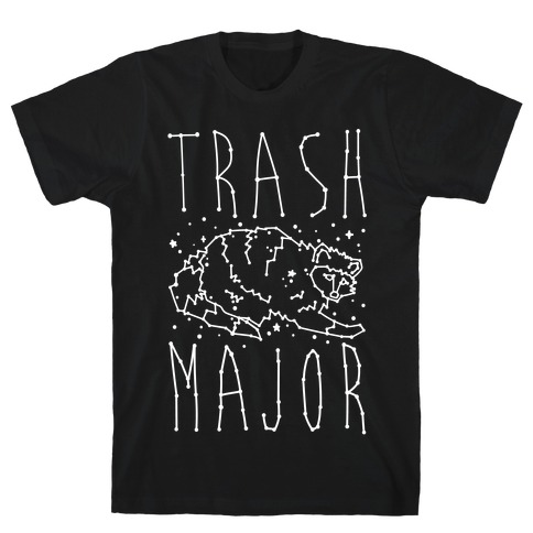 Trash Major Raccoon Constellation Parody White Print T-Shirt