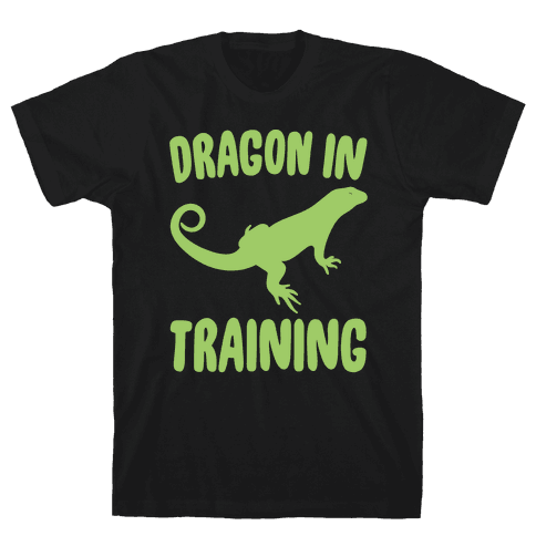 Dragon In Training White Print Mens T-Shirt