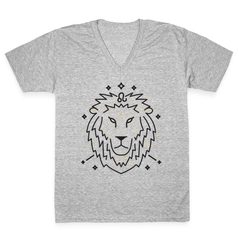 Astrology Leo Lion V-Neck Tee Shirt
