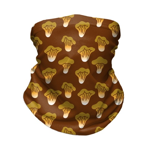 Golden Oyster Mushroom Brown Pattern Neck Gaiter